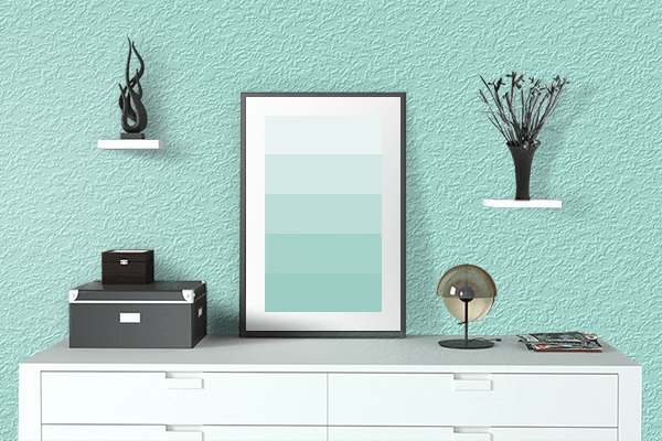 Pretty Photo frame on Pale Blue color drawing room interior textured wall