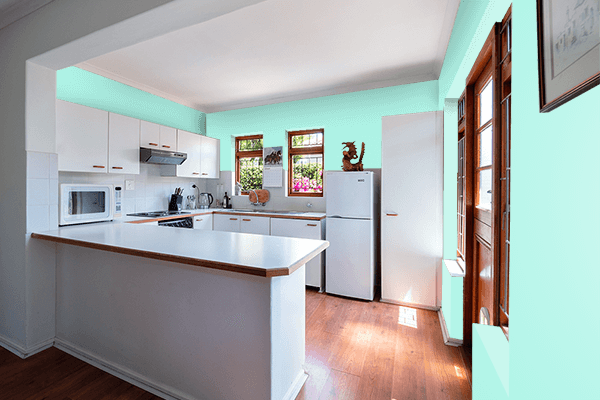 Pretty Photo frame on Pale Blue color kitchen interior wall color