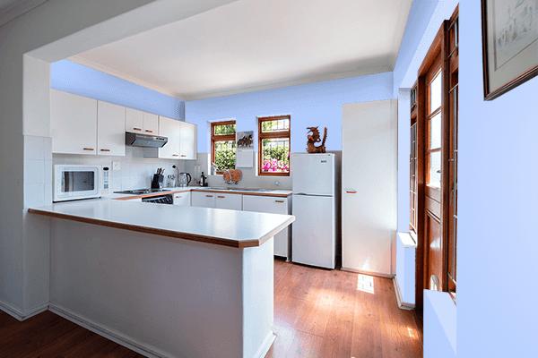 Pretty Photo frame on Pale Cornflower Blue color kitchen interior wall color