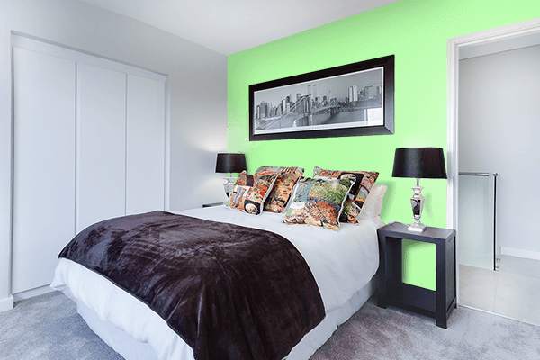 Pretty Photo frame on Menthol color Bedroom interior wall color