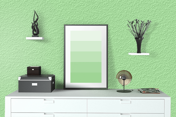 Pretty Photo frame on Menthol color drawing room interior textured wall