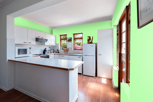 Pretty Photo frame on Menthol color kitchen interior wall color
