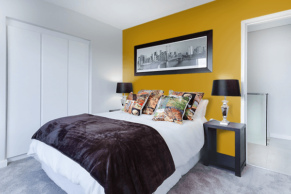 Pretty Photo frame on Dark Goldenrod color Bedroom interior wall color