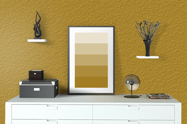 Pretty Photo frame on Dark Goldenrod color drawing room interior textured wall