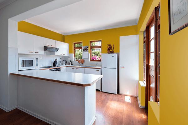 Pretty Photo frame on Dark Goldenrod color kitchen interior wall color