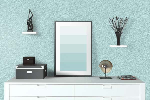 Pretty Photo frame on Diamond color drawing room interior textured wall