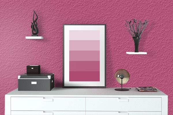 Pretty Photo frame on Fuchsia Rose color drawing room interior textured wall