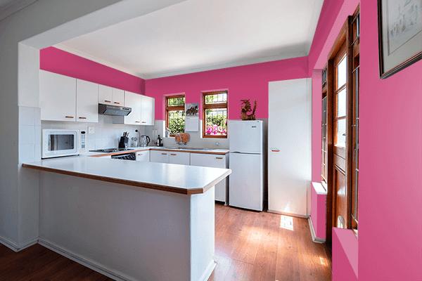 Pretty Photo frame on Fuchsia Rose color kitchen interior wall color