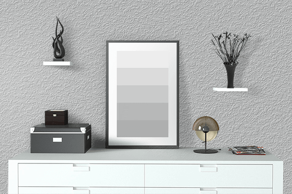 Pretty Photo frame on Chinese Silver color drawing room interior textured wall