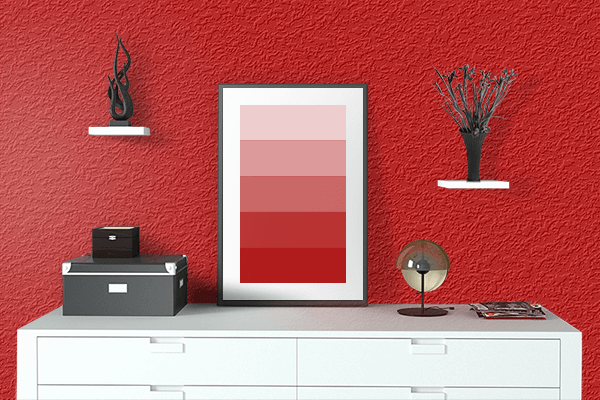 Pretty Photo frame on Boston University Red color drawing room interior textured wall