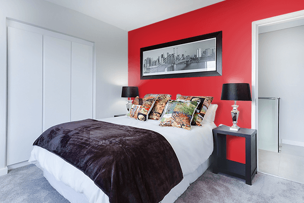 Pretty Photo frame on Fire Engine Red color Bedroom interior wall color