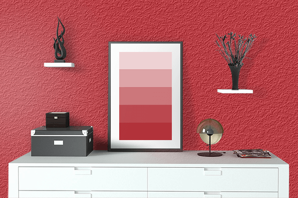 Pretty Photo frame on Fire Engine Red color drawing room interior textured wall