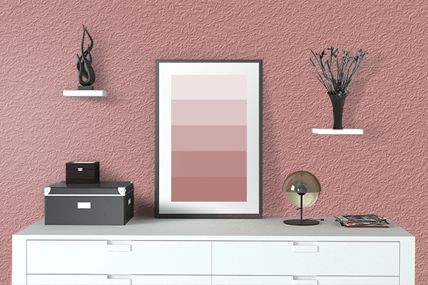 Pretty Photo frame on New York Pink color drawing room interior textured wall