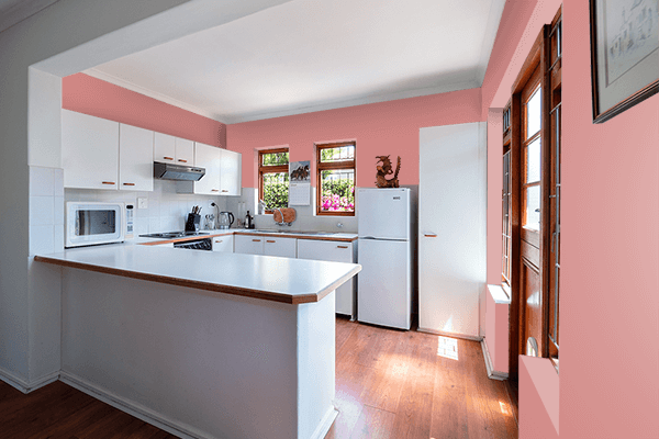 Pretty Photo frame on New York Pink color kitchen interior wall color