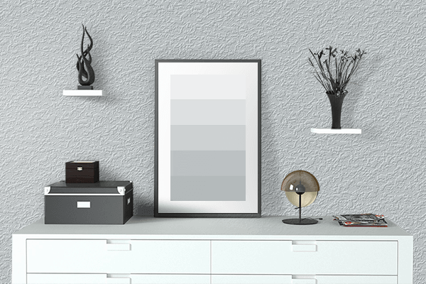 Pretty Photo frame on Light Silver color drawing room interior textured wall