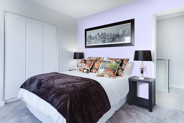 Pretty Photo frame on Pale Lavender color Bedroom interior wall color