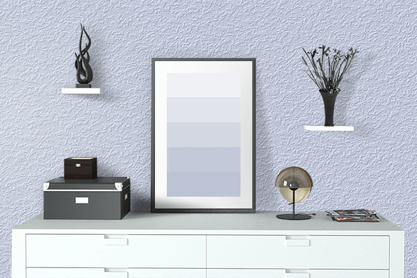 Pretty Photo frame on Azureish White color drawing room interior textured wall