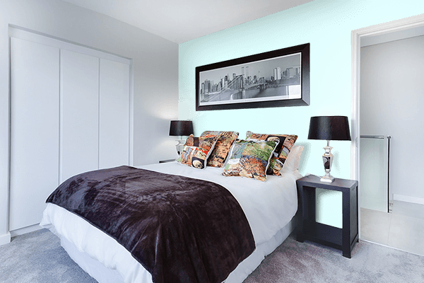 Pretty Photo frame on Light Cyan color Bedroom interior wall color