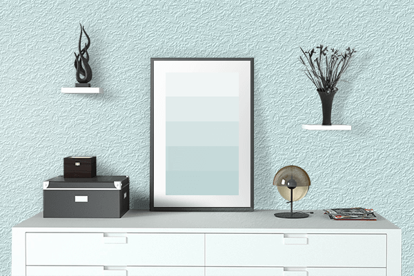 Pretty Photo frame on Light Cyan color drawing room interior textured wall