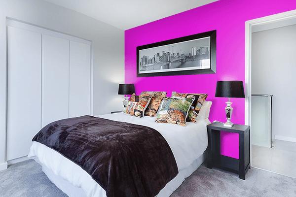Pretty Photo frame on Hot Magenta color Bedroom interior wall color