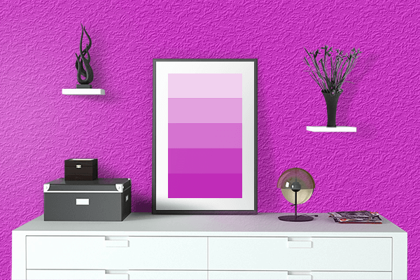 Pretty Photo frame on Hot Magenta color drawing room interior textured wall