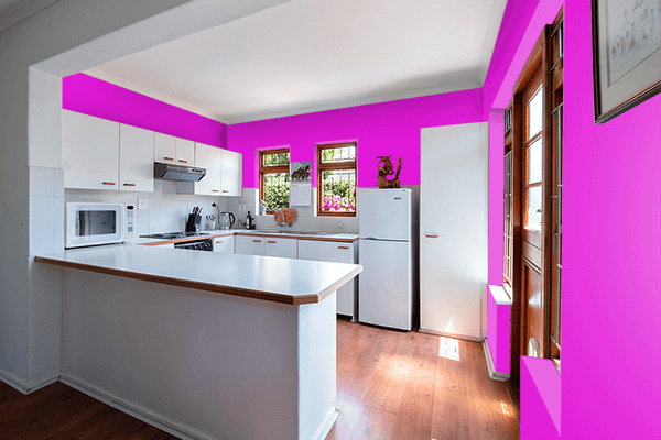 Pretty Photo frame on Hot Magenta color kitchen interior wall color