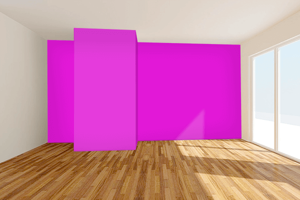 Pretty Photo frame on Hot Magenta color Living room wal color