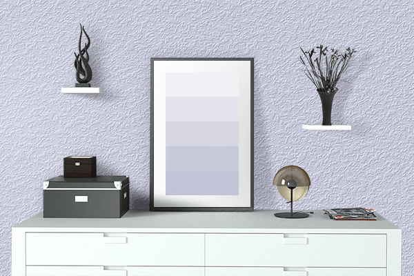 Pretty Photo frame on Lavender (Web) color drawing room interior textured wall