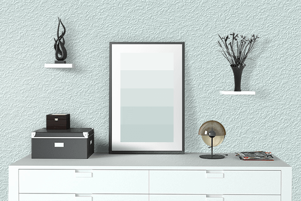 Pretty Photo frame on Bubbles color drawing room interior textured wall