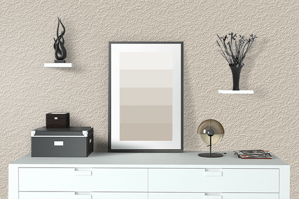 Pretty Photo frame on Bone color drawing room interior textured wall