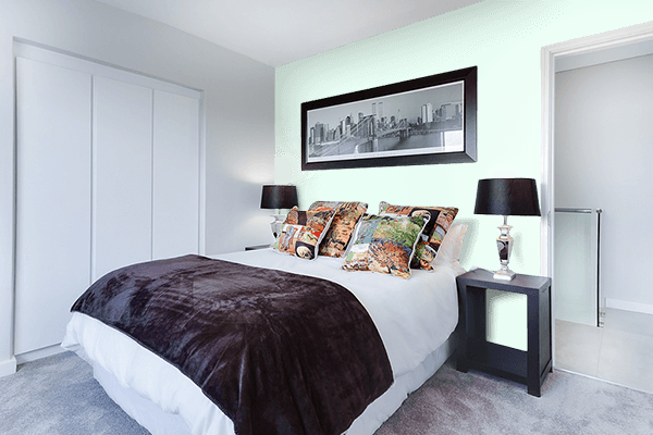 Pretty Photo frame on Honeydew color Bedroom interior wall color