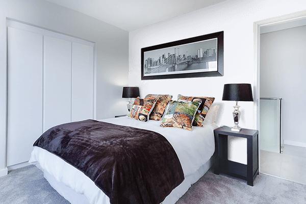 Pretty Photo frame on Anti-Flash White color Bedroom interior wall color