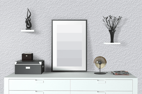 Pretty Photo frame on Anti-Flash White color drawing room interior textured wall