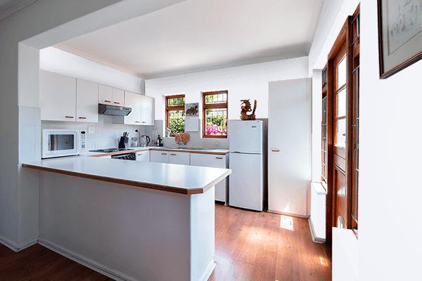 Pretty Photo frame on Anti-Flash White color kitchen interior wall color