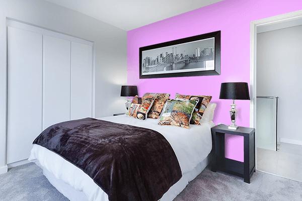 Pretty Photo frame on Rich Brilliant Lavender color Bedroom interior wall color