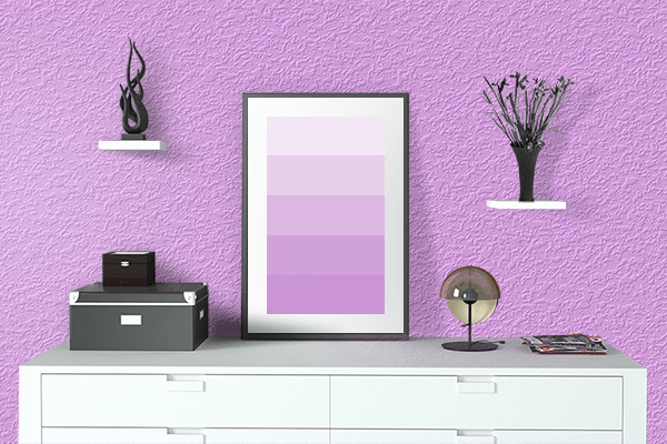 Pretty Photo frame on Rich Brilliant Lavender color drawing room interior textured wall