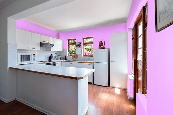 Pretty Photo frame on Rich Brilliant Lavender color kitchen interior wall color
