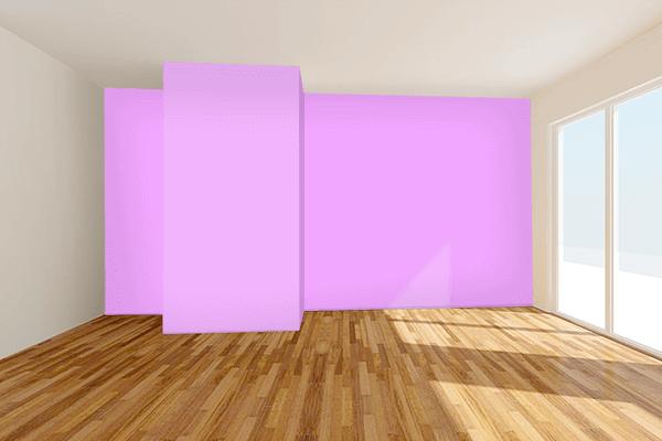 Pretty Photo frame on Rich Brilliant Lavender color Living room wal color