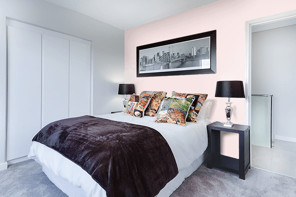 Pretty Photo frame on Misty Rose color Bedroom interior wall color