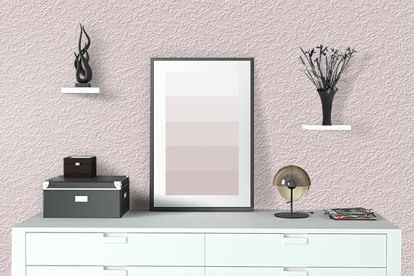Pretty Photo frame on Misty Rose color drawing room interior textured wall