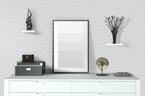 Pretty Photo frame on Ghost White color drawing room interior textured wall