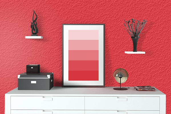Pretty Photo frame on Imperial Red color drawing room interior textured wall