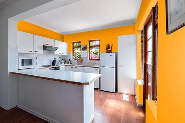Pretty Photo frame on Vivid Gamboge color kitchen interior wall color