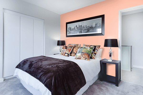 Pretty Photo frame on Deep Peach color Bedroom interior wall color