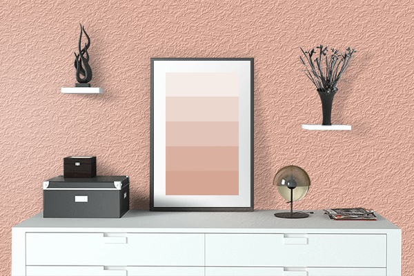 Pretty Photo frame on Deep Peach color drawing room interior textured wall