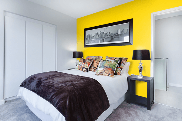 Pretty Photo frame on Gold (Web) (Golden) color Bedroom interior wall color