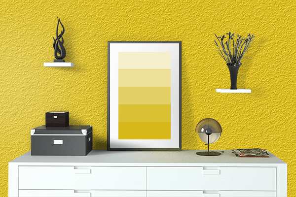 Pretty Photo frame on Gold (Web) (Golden) color drawing room interior textured wall