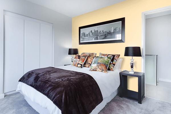 Pretty Photo frame on Peach color Bedroom interior wall color