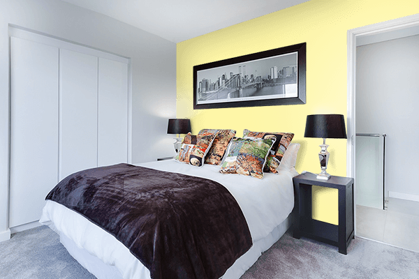 Pretty Photo frame on Calamansi color Bedroom interior wall color