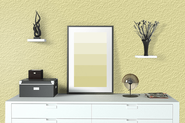 Pretty Photo frame on Calamansi color drawing room interior textured wall